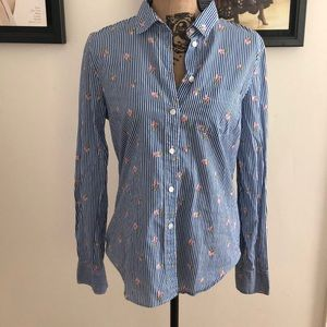 J Crew cotton pinstriped floral top
